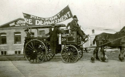 The early Melfort Fire Brigade on Parade